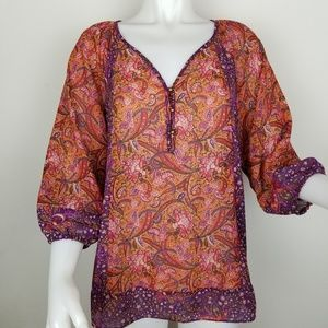 Chaps PXL Paisley & Floral Sheer Blouse